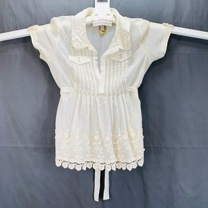 Faint Yellow Sheer Cotton Blouse - Women's 0